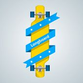 Ad layout for longboard with blue ribbon.