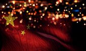 China National Flag Light Night Bokeh Abstract Background