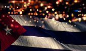 Cuba National Flag Light Night Bokeh Abstract Background