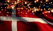 Denmark National Flag Light Night Bokeh Abstract Background