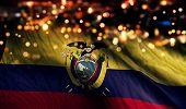 Ecuador National Flag Light Night Bokeh Abstract Background