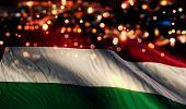 Hungary National Flag Light Night Bokeh Abstract Background