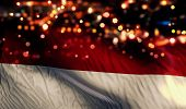 Indonesia Monaco National Flag Light Night Bokeh Abstract Background