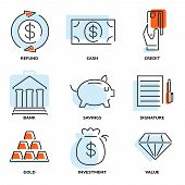 Set of money and value flat line vector icons