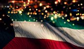 pic of kuwait  - Kuwait National Flag Light Night Bokeh Abstract Background - JPG