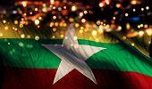 Myanmar National Flag Light Night Bokeh Abstract Background