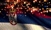 Serbia National Flag Light Night Bokeh Abstract Background