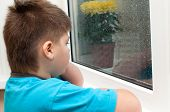 A Boy Looks Out The Window