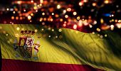 Spain National Flag Light Night Bokeh Abstract Background