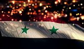 Syria National Flag Light Night Bokeh Abstract Background