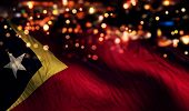 Timor Leste National Flag Light Night Bokeh Abstract Background
