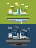 Flat Design For Green Energy And Pollution
