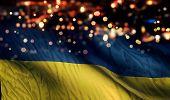Ukraine National Flag Light Night Bokeh Abstract Background