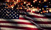 Usa America National Flag Light Night Bokeh Abstract Background