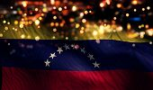 Venezuela National Flag Light Night Bokeh Abstract Background