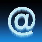 Blue Ice Alphabet Symbol - Email Sign Isolated On Blue Background
