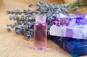 Natural handmade lavender Liquid soap and solid soap with fresh lavender flowers on sackcloth