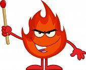 Evil Fire Cartoon Character Holding Up A Match Stick
