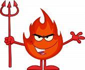Evil Fire Cartoon Character Holding Up A Pitchfork
