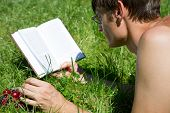 Man Reads A Book Lying On The Green Grass