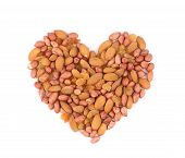 Heart shape of raisins and peanuts.