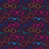 Seamless pattern with colorful retro glasses