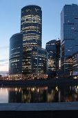 MOSCOW, RUSSIA - JUNE 5, 2012: Moscow international business center Moscow City in evening. The construction started in 1995, costs for the present about $12 billions, and have to be finished in 2017