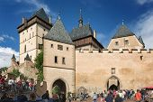 View of the castle Karlstejn, Czech Republic. Built by Holy Roman Emperor Charles IV. in the 14th century. Photo shoot August 16, 2014