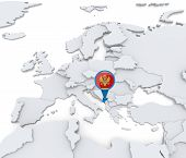 picture of negro  - Highlighted Monte negro on map of Europe with national flag - JPG