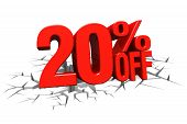 3D Render Red Text 20 Percent Off On White Crack Hole Floor.