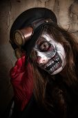 pic of clown face  - Teenage girl with scary clown face painting - JPG
