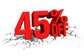 3D Render Red Text 45 Percent Off On White Crack Hole Floor.