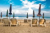 Camp Bed under the umbrella of colorful on beach Phuket, Thailand