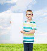 vision, health, advertisement, nature and people concept - smiling little boy wearing eyeglasses wit