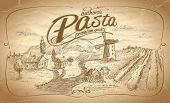 Autentic pasta label with rural landscape backdrop. Eps10