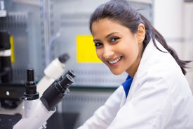 pic of histology  - Closeup portrait young scientist looking into microscope - JPG