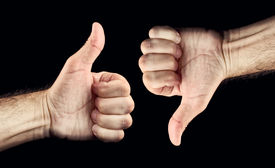 pic of disapproval  - Thumb down and thumb up for like and dislike or Approval and disapproval concept - JPG