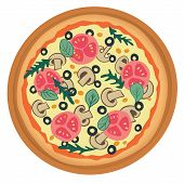 pizza with tomato, mushrooms and olives.