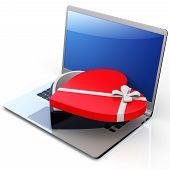 3D Laptop With Box In The Shape Of Heart