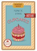 Cupcake Poster. Retro Vintage Design