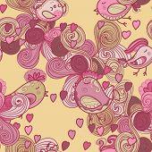 Valentine Pattern With Hearts, Birds, Waves