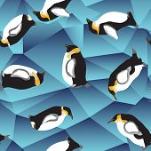 Penguin Pattern, Blue Crystal Ice Background