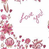Valentine Pattern With Hearts, Flowers