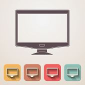 Widescreen Monitor Flat Icons Set Fadding Shadow Effect