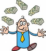 Happy Rich Businessman Cartoon