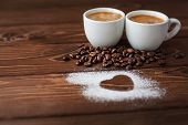 Espresso Coffee With Sugar Powdered Heart