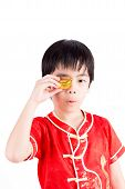 Cute Asian Boy In Tradition Chinese Cheongsam Isolated On White Background : Chinese New Year Concep