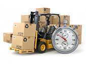 Forklift truck with  boxes and stopwatch .Express delivery concept. 3d