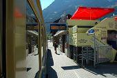 Platform On Railway Station In Grindelwald In Switzerland