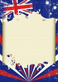 Dirty Australian flag. A poster with a large scratched frame and a grunge australian flag for your publicity.